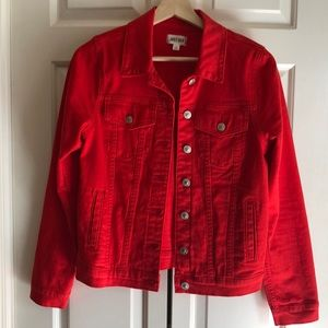Just USA Tell Us Right Red Denim Jacket